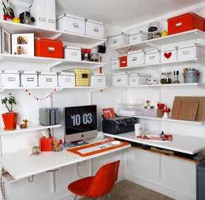 amusing-energizing-home-office-decoration-ideas-red-and-white-color-wall-mount-desk-shelf-chest-swivel-chair