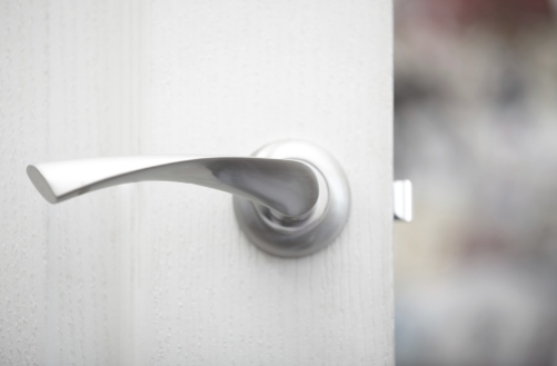 Close up silver door handle